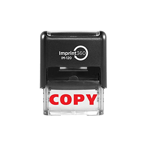 Imprint 360 AS-IMP1004 - Copy (Solid), Heavy Duty Commerical Quality Self-Inking Rubber Stamp, Red Ink, 9/16