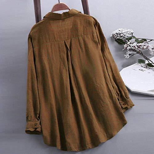 Top Da Elegante Per Maniche Con Camicetta A T Allentata Allentato Le Maglietta Soild D'atmosfera Camicia Donne Bottone Donna Lunghe Casual shirt wPOCn8q
