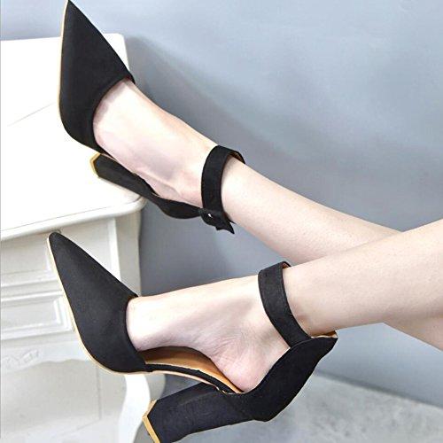 Party pour B d't Boucle Hauts Robe Formel Shoe Talons Taille Bottes Soire Chaussures Pointues Chaussures Lady Affaires Femmes Pointu Chaussures Grande amp; XUE Travail en Sandales Daim 5xA6YOwq