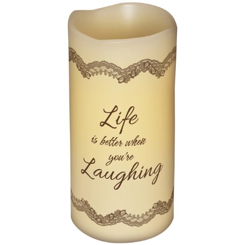 Inspirational Flameless Candles ''Laughing'', 6''H, 3''Diameter