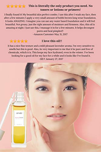 Amaki Japanese Tsubaki Anti-Aging Face Oil, Enjoy Beautiful Glow & Youthful Skin with NO Breakout or Clogged Pore - Best Daily Moisturizing Serum for Sensitive, Dry and Acne-prone Skin