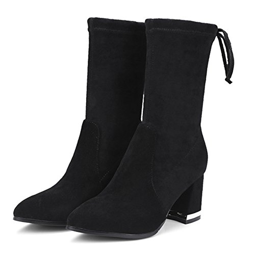 Heel Surface Women Pointy Grind QZUnique Mid Chunky Boots Leather Black Boots Calf Toe Arenaceous Genuine Combat vS1vxdzWHn