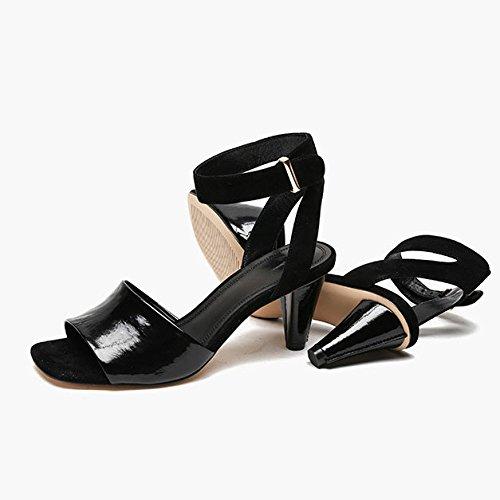 Black Joker Femmes en DKFJKI Femmes Fashion Robes Boucle pour Open Sandales pour Toe Cuir PaxqCOw