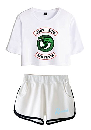 T Riverdale Donne per Shirt Completo e Top Bianca e Abbigliamento ZIGJOY Crop bianca1 Ragazze Shorts FqgtxZgUw