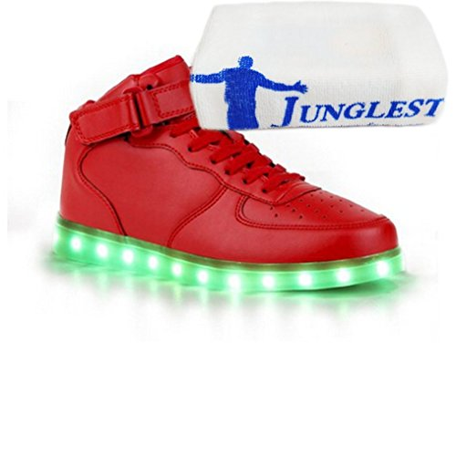 (Present:small towel)JUNGLEST® 8 Colors LED Light-Up Couple Womens Mens Sport Shoes Sneakers USB Charging for Valentines Day Chri Red High Top with Velcro qbv5WU