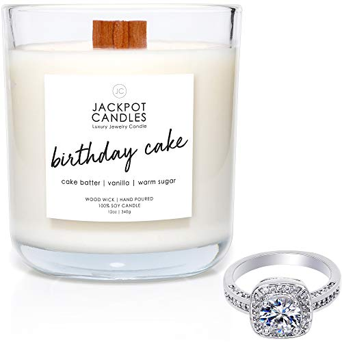 Jackpot Candles Birthday Cake Candle with Ring Inside (Surprise Jewelry Valued at $15 to $5,000) Ring Size ()