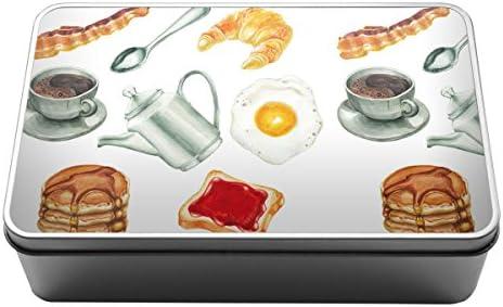 Acuarela desayuno comida tortitas Metal Almacenamiento Caja De Lata 091: Amazon.es: Hogar