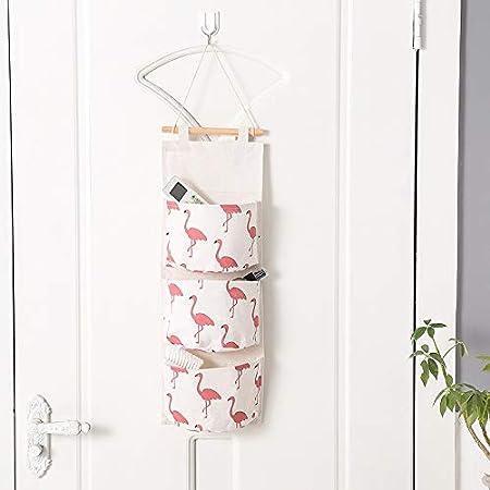Wandbehang Aufbewahrungsbeutel 3 St/ücke Leinen Stoff H/ängen Tasche Organizer mit 3 Taschen f/ür K/üche Schlafzimmer Badezimmer B/üro style1