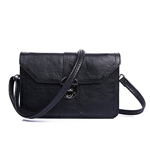 TENXITER Small Purse Vegan Leather Crossbody Bags for Women Multi Pocket Cell Phone Wallet Mini Travel Purses(Black)