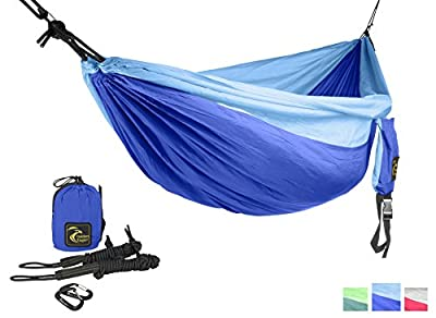 SingleEagle Power Hammock Set (1 person) - Ultra Lightweight Portable Parachute Nylon 210T Single Camping Hammocks for Hiking, Travel, Beach, Yard, Gift - PREMIUM QUALITY.