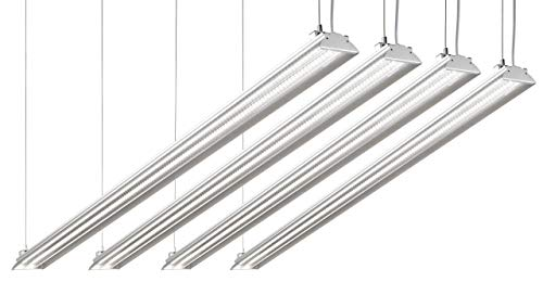 Hyperikon 4 Foot LED Shop Light, 100 Watt Replacement (35W), Shop and Garage Strip Lighting, Plug and Play, 5000K Crystal White, Clear, UL, DLC, 4 Pack (Renewed)