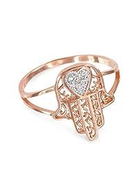 14k Rose Gold Diamond Pave Heart Filigree Hamsa Ladies Ring
