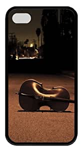 Cello on the street TPU Silicone Rubber Soft Back Case Cover for iPhone 4/4s - Black