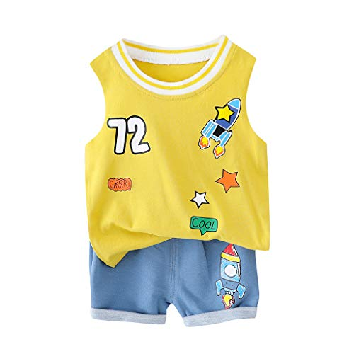 (Toddler Kids Baby Girl Boy Sveless T-Shirt Top+Shorts Pants Outfits 2Pcs/Set Fashion Clothes Set 6M-24M Yellow)