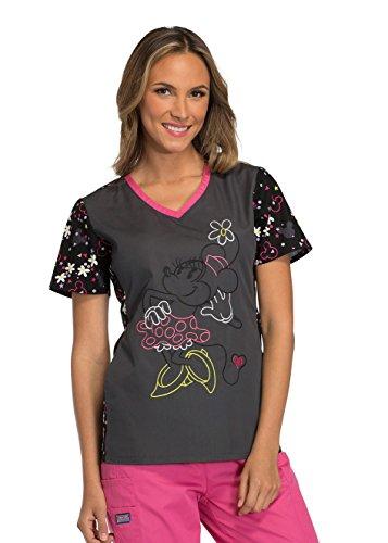Tooniforms Cherokee Women's V-Neck Knit Panel Minnie Mouse Print Scrub Top Medium Print