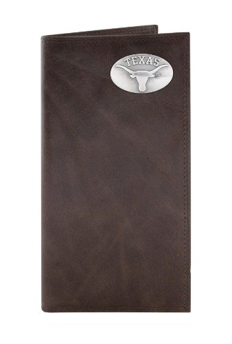 NCAA Texas Longhorns Brown Wrinkle Leather Roper Concho Wallet, One Size