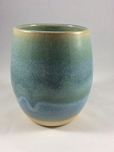 Wine Cup, Wine Glass, in Blue and Green from Joyful Clay