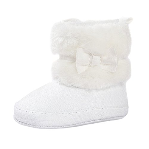 Estamico Baby Girl Plush Winter Snow Bowknot Boots White US 3