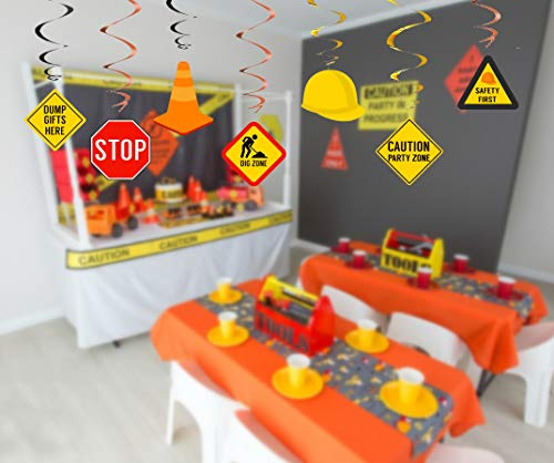 30Ct Construction Hanging Swirl Decorations Traffic Zone Birthday Theme Ceiling Streamers Dump Truck Party