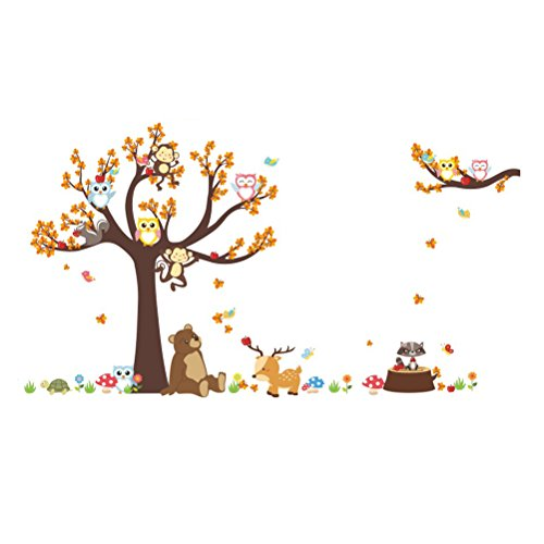 JMM Forest Animal Tree Nursery Wall Stickers Wall Murals DIY Posters Vinyl Peel and Stick Removable Art Wall Decals for Kids Bedroom Living Room Decoration