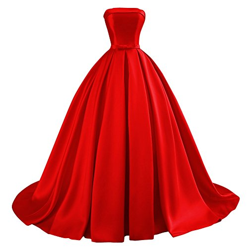 Bess Bridal Women's Ball Gowns Lace Up Long Formal Prom Evening Dress With Bow US4 (Red Satin Strapless Dress)