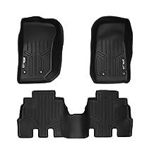 MAXFLOORMAT Floor Mats for Jeep Wrangler Unlimited (2014-2016) Complete Set (Black)
