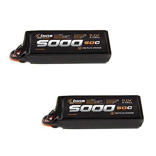 Bias 50C 3S 5000mAh 11.1V LiPo Battery with UNI Plug (EC3/Deans/Traxxas/Tamiya) for RC Car, Truck, Buggy, Boat, Quadcopter, Heli, and Drone x2 Packs by Bias