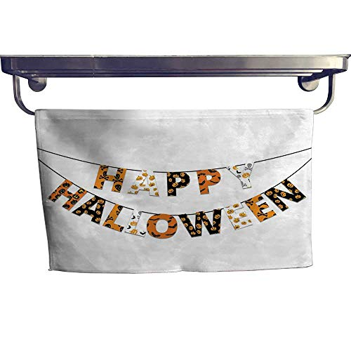 Halloween Print Bathroom Accessories Set Happy Halloween Banner Greetings Pumpkins Skull Cross Bones Bats Pennant Personalized Hand Towels Set W 10