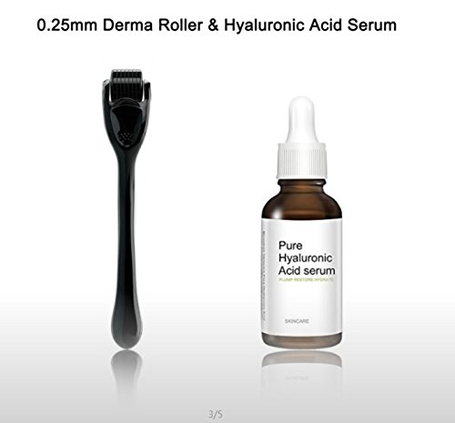 Endim Titanium Microneedle Derma Roller 540 Micro Needles Skin Care Needle 0.25mm+hyaluronic acid serum-EOE