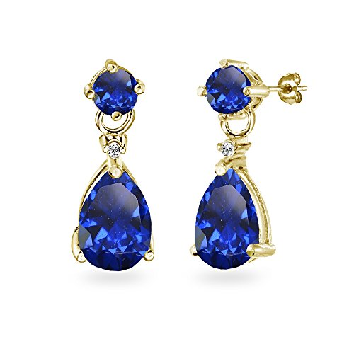 - Yellow Gold Flashed Sterling Silver Created Blue Sapphire Teardrop Dangle Earrings