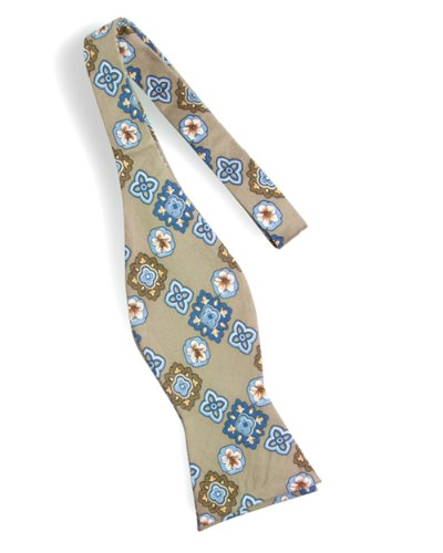 Tommy Bahama Silk Twill Bowtie Printed in a Floral Medallion Pattern Against Solid Background. (TAUPE) ()