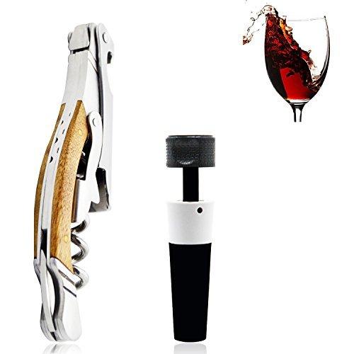Corkscrew, Wine Bottle Opener, Stainless Steel Body with Deluxe Wood Handle