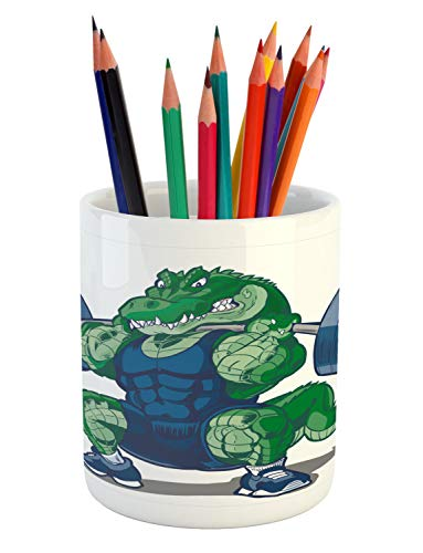 Ambesonne Animal Pencil Pen Holder, Cartoon Crocodile Sporty Muscular Manly Alligator Villian Image Print, Printed Ceramic Pencil Pen Holder for Desk Office Accessory, Jade Green Blue