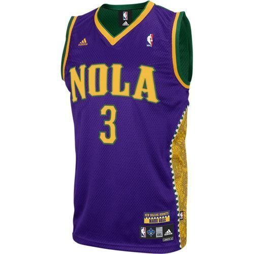 Amazon.com  adidas New Orleans Hornets  3 Chris Paul Gold-Purple-Green Mardi  Gras Swingman Basketball Jersey  Clothing 005df2b6a