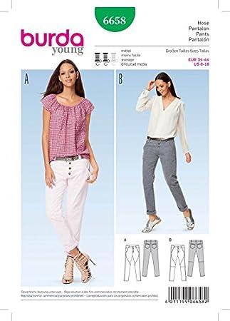 Burda Damen Schnittmuster 6658 Folk Bilderrahmen Slim Cut Jeans mit ...