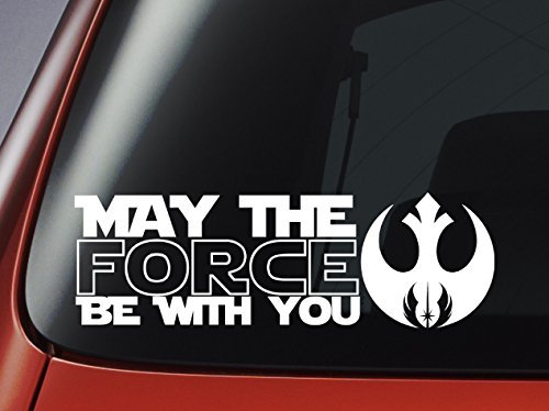 Star Wars May The Force Be With You and Jedi Logo - Vinyl Decal - Car, Window, Wall, Laptop Sticker by Level 33 Ltd