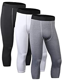 Men's 3/4 Compression Base Layer Tights Pants Running Leggings#1050