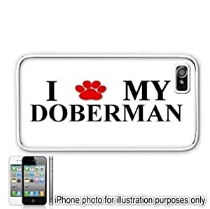 Doberman Paw Love Dog Apple iPhone 4 4S Case Cover White