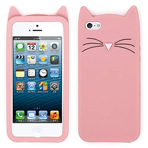 for iPhone 5C Cat Case, iPhone 5 Animal Case, iPhone 5S Kitty Case, iPhone SE 3D Case, Adorable 3D Cartoon Meow Cat Ears Soft Silicone Rubber Shockproof Phone Case Cover for iPhone 5 / 5S / 5C / SE (Iphone Kitty 5 Case)