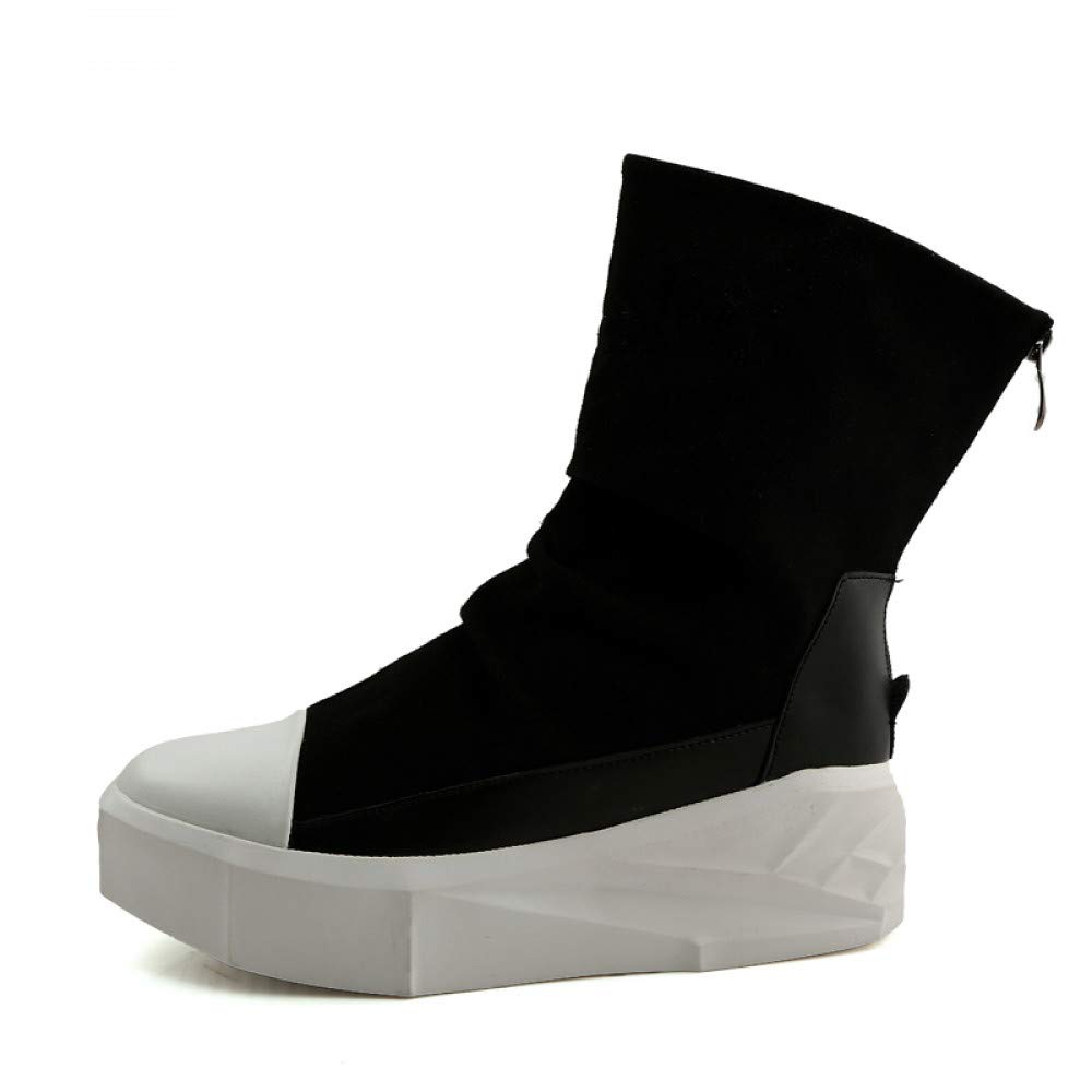 FHCGMX Männer 8 cm Höhe Zunehmende Plattform Stiefel Zurück Reißverschluss Lederschuhe Männliche Mischfarben High Top Schwarz Weiß Herrenstiefel