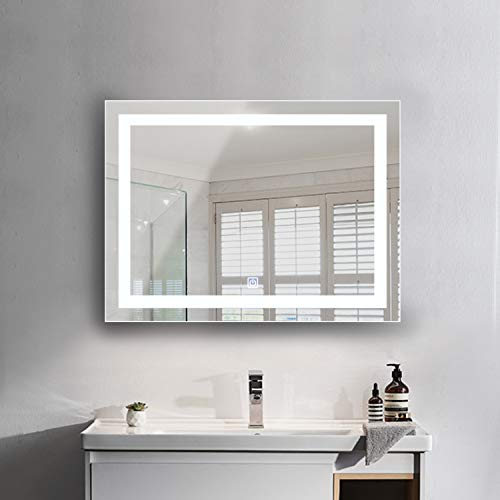 XIPUDA Wall-Mounted Vanity Mirror, Bathroom LED Light Mirror, 36 x 28 Inch Frame-Less Illuminated - Mission Bathroom Mirrors