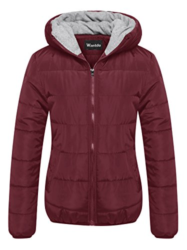 Wantdo Women's Quilted Puffer Padded Jacket with Hooded Wine Red Small - Basic Bubble Jacket
