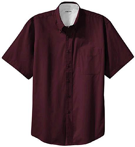 Joe's USA - Mens Large Tall Short Sleeve Easy Care Shirts Burgundy/Light Stone