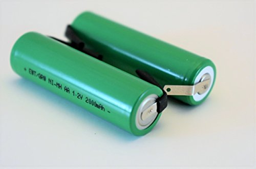 m Capacity AA NiMh 2000 mAh Rechargeable 1.2V Flat Top Battery with Tabs ()