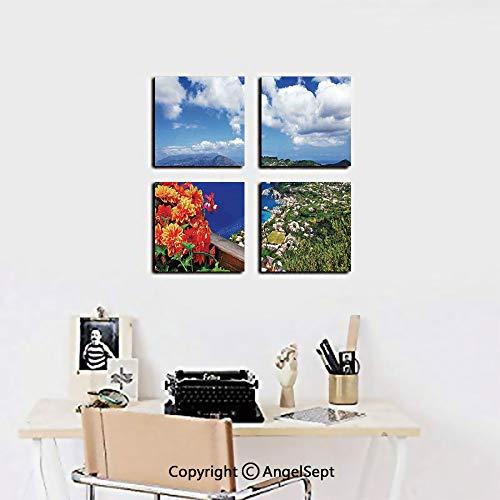 - 4 Piece Canvas Wall Art Set,Scenic Capri Island Italy Mountain Houses Flowers View from Balcony Landmark,12