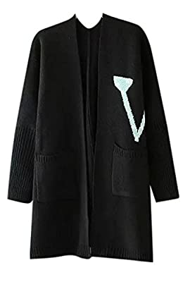 Lingswallow Women's Long Sleeve Casual Cute Long Knitted Cardigan Sweater