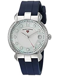 Swiss Legend SL-16591SM-02-BLS Women's Layla Quartz Stainless Steel and Silicone Automatic Wrist Watch, White Dial with Blue Band