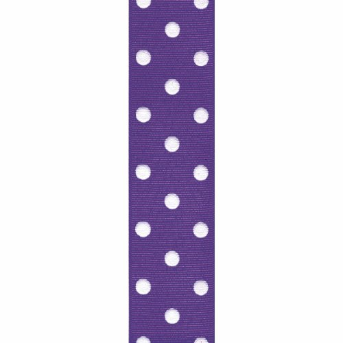 Offray Grosgrain Polka Dot Craft Ribbon, 1 1/2-Inch x 9-Feet, Regal Purple