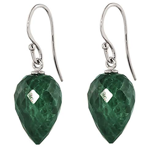 (Galaxy Gold 14k Solid White Gold Fish Hook Earrings with Natural Pointy Briolette Emeralds )