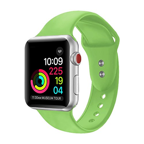 Sport Band For Apple Watch,Soft Silicone Strap Replacement Wristbands For Apple Watch Sport Series 3 Series 2 Series 1 NIKE+ Sports and Edition (Green 42mm - Sport Green